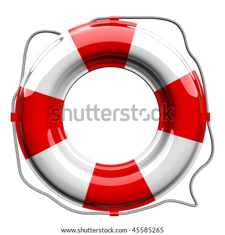 Red and white lifebelt isolated on white - stock photo