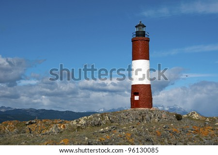 Red and white lighthouse - in the Beagle Channel Ushuaia Patagonia Argentina