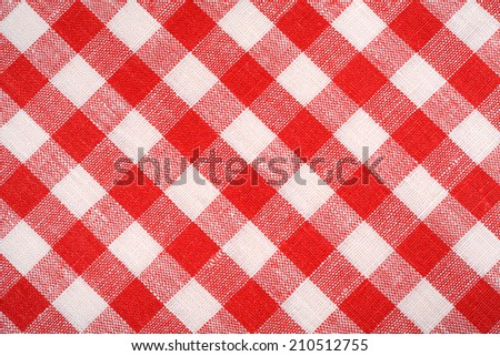 Red and white linen fabric background. - stock photo