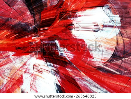 Red and white lines in motion. Abstract bright textured pattern. Modern futuristic concept background for wallpaper, interior, flyer cover, poster, booklet. Fractal art for creative graphic design. - stock photo