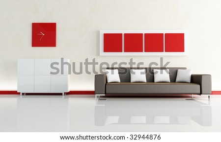red and white living room with modern brown sofa - rendering