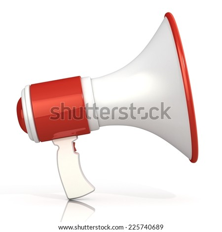 Red and white megaphone, 3D rendering, isolated on white background. Side view.