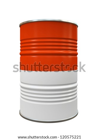 Red and White Metal barrel isolated on white background illustration