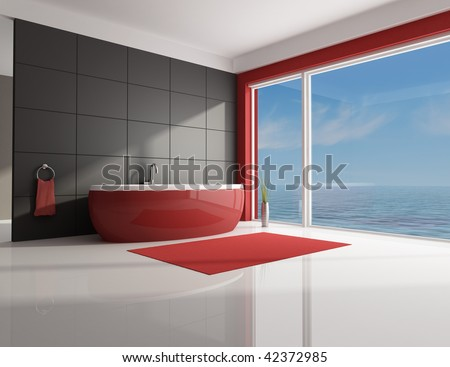 red and white minimal contemporary bathroom - rendering - stock photo