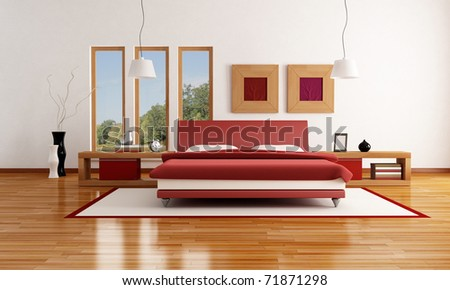 red and white  modern bedroom with parquet floor - rendering-the image on background is a my photo - stock photo