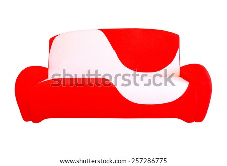 Red and white modern sofa isolated on white background. - stock photo