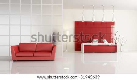 red and white office with leathe sofa - rendering - stock photo