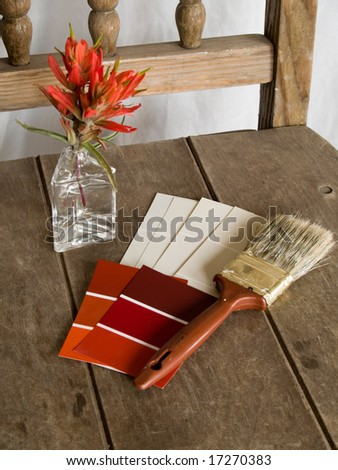 Red and white paint project - stock photo