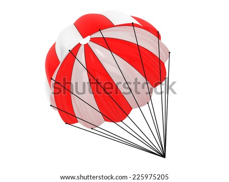 Red and White parachute on a white background - stock photo