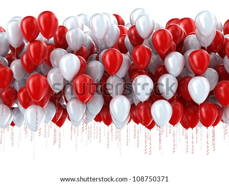 Red and white party balloons - stock photo