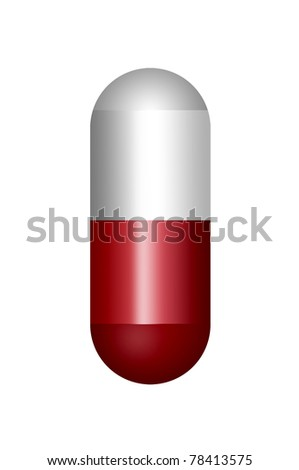 red and white pill isolated over white background