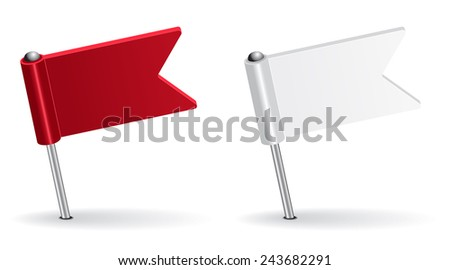 Red and white pin icon flag. Raster version - stock photo