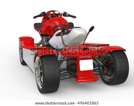 Red and white quad bike - back view - 3D Render