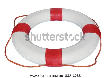 red and white rescue wheel on a white background - stock photo