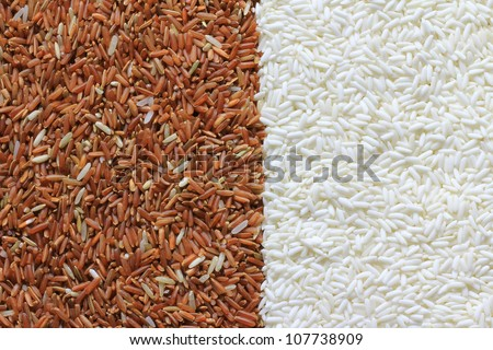 Red and white rice grains background