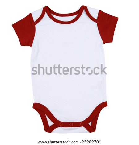 Red and White Ringer Style Infant Onesie - stock photo
