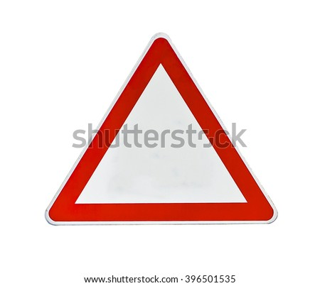 Red and white road traffic coordination symbol on white - stock photo