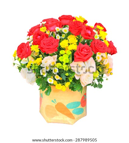 red and white roses flowers bouquet and yellow tulip in bucket isolated white background use for home decoration  - stock photo