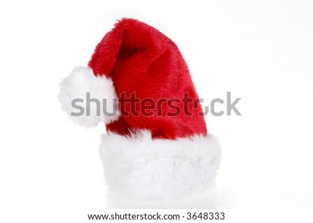 Red and White Santa Hat on a white background