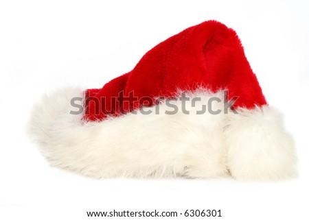 Red and white santa hat on white background