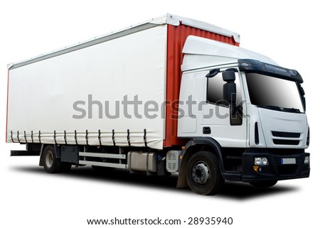 Red and White Semi Truck Isolated - stock photo