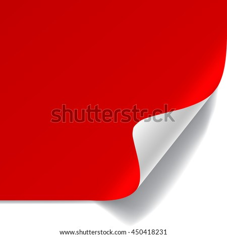 Red and white sheet of paper with curved corner and with shadow on white background