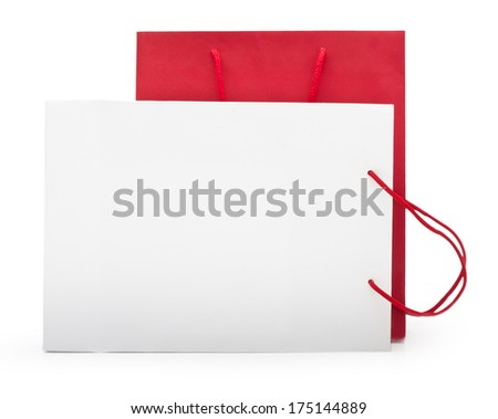 Red and white shopping bag on a white background