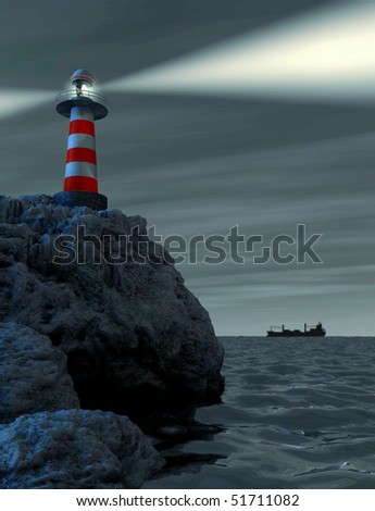 Red and white striped lighthouse on a rocket
