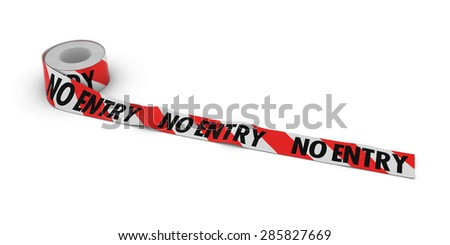Red and White Striped NO ENTRY Tape Roll unrolled across white floor - stock photo