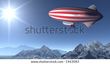 red and white striped zeppelin flying in a starry night - stock photo