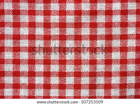 red and white tablecloth texture wallpaper - stock photo