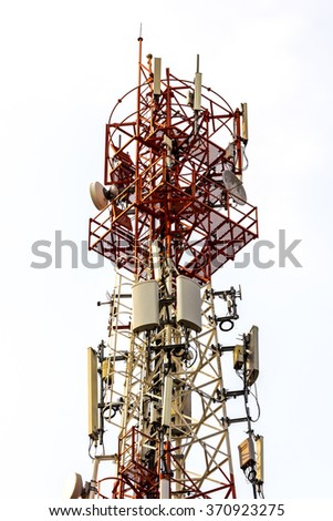 Red and White Telecommunication tower isolated on white background. - stock photo