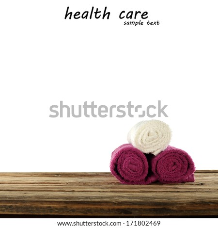 red and white towels  - stock photo