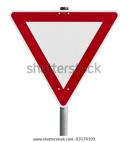 Red and white traffic sign. Picture taken in germany. with clipping path - stock photo