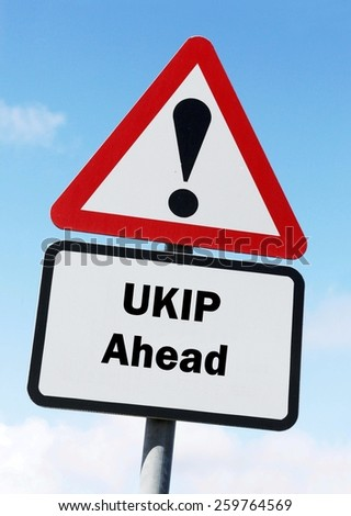 Red and white triangular road sign with a UKIP ahead concept against a partly cloudy sky background - stock photo
