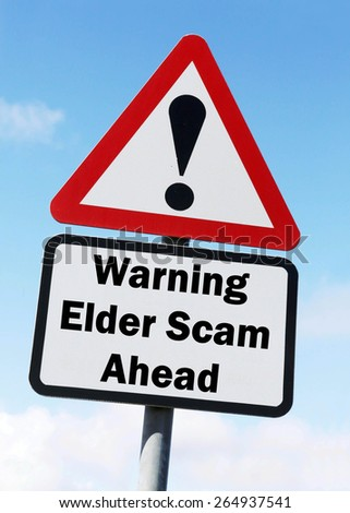 Red and white triangular road sign with a warning of an Elder Scam Ahead concept against a partly cloudy sky background - stock photo