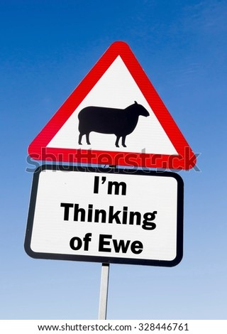 Red and white triangular road sign with an I'm Thinking of Ewe play on words concept against a partly cloudy sky background