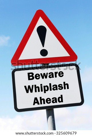 Red and white triangular road sign with warning to Beware of Whiplash Ahead concept against a partly cloudy sky background - stock photo