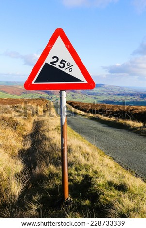 Red and white triangular warning road sign indicating a steep hill with a 25% slope ahead on a moorland road,