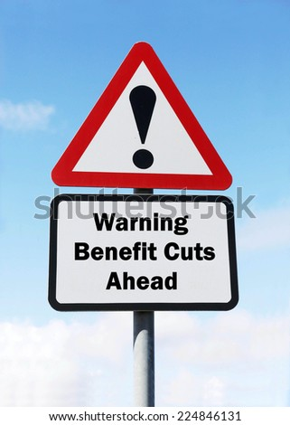 Red and white triangular warning road sign with a warning of  Benefit Cuts ahead concept against a partly cloudy sky background - stock photo