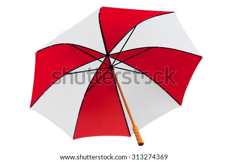 Red and White umbrella, isolated on white - stock photo