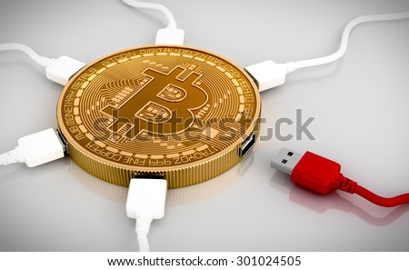 Red And White USB Wires Connected To The Bitcoin. 3D Scene. - stock photo