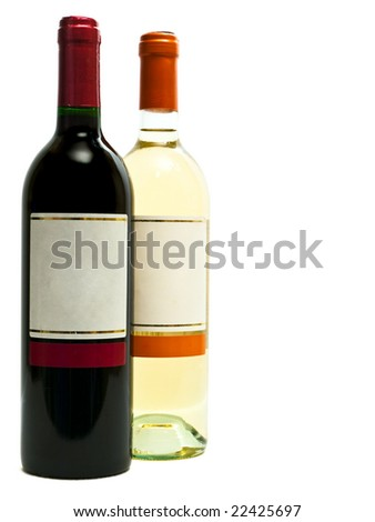 red and white wine bottles against the white background