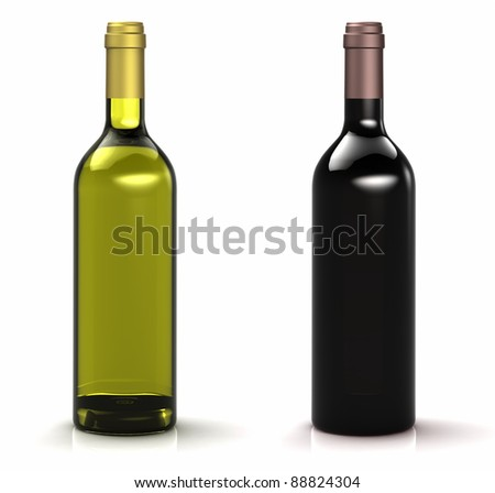 Red and white wine bottles on white background - stock photo
