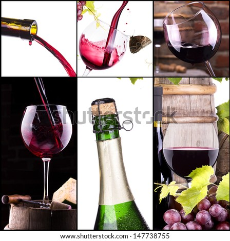 red and white wine, champagne collage with barrel, bottle, food, grape - stock photo