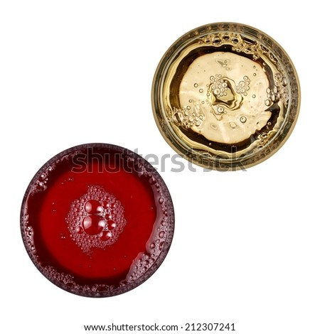 Red and white wine glasses in diagonal, top view - stock photo