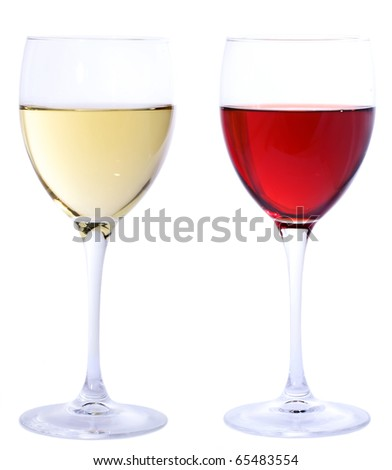 Red and white wine glasses isolated on white - stock photo