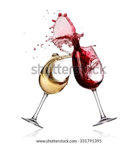 Red and white wine glasses up and splash