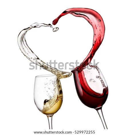 Red and white wine heart splash