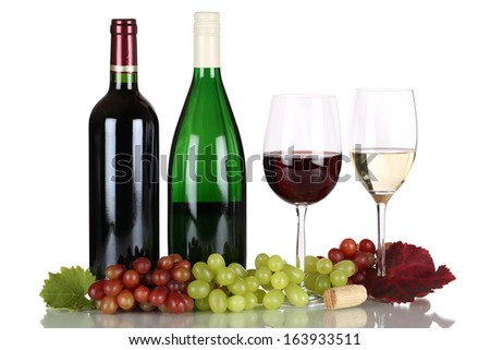 Red and white wine in bottles isolated on a white background